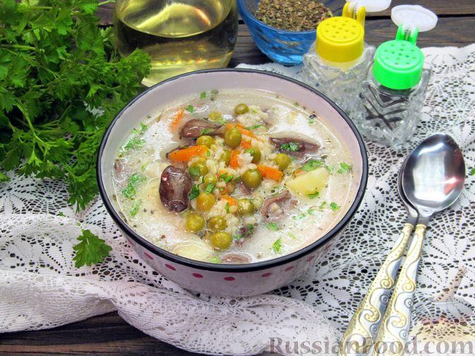 Сырный суп с куриными сердечками, булгуром и  консервированным горошком