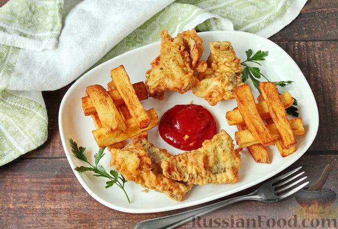 Жареная рыба в пивном кляре с картофелем фри (фиш-энд-чипс)