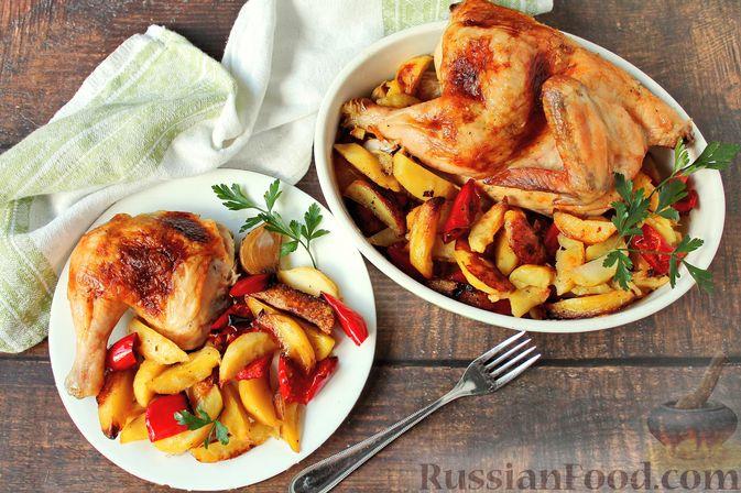 Курица, запечённая с картофелем, сладким перцем, вином и розмарином
