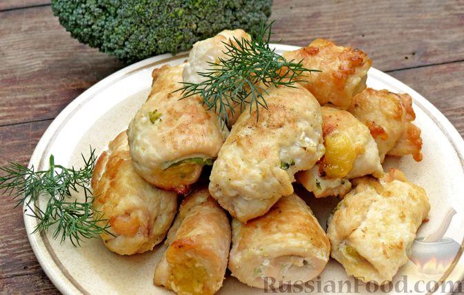 Куриные рулеты с брокколи и сыром (в духовке)