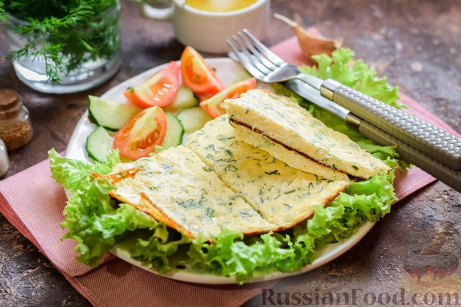 Омлет на кефире с плавленым сыром