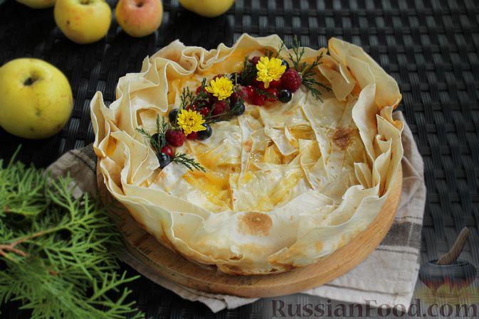 Пирог из лаваша, с яблоками и яично-сметанной заливкой