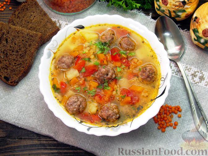 Чечевичный суп с овощами и мясными фрикадельками