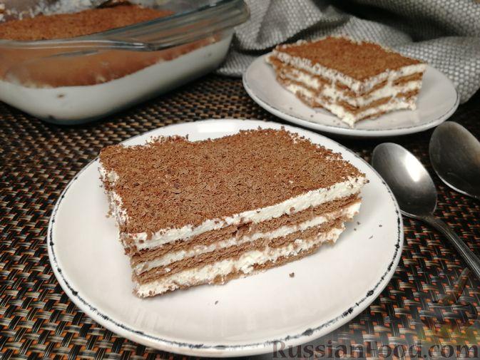 Творожно-сметанный десерт с печеньем