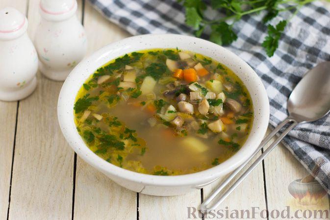 Суп с шампиньонами и овсянкой