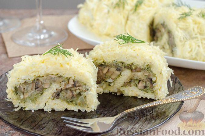 Рисовый рулет с шампиньонами, стручковой фасолью и сыром