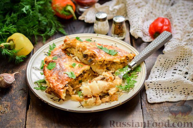 Рыбная запеканка с грибами и сметанно-сырной заливкой