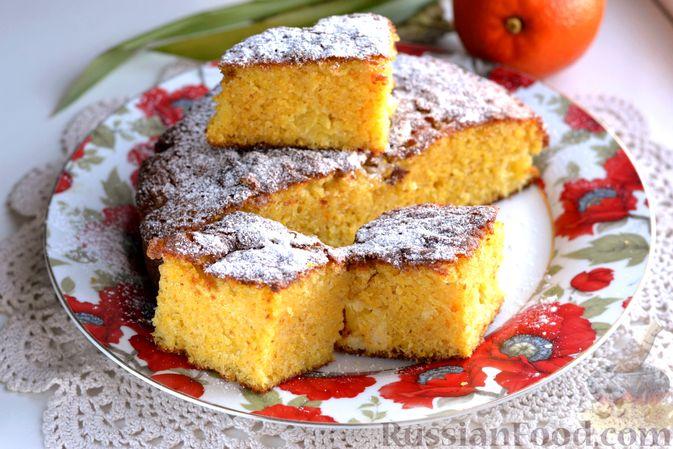 Пирог на кефире, с кукурузной крупой и апельсином