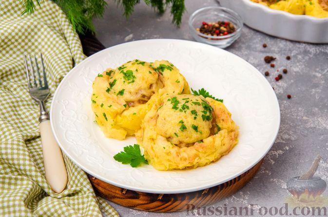 «Гнёзда» из картофельного пюре с мясным фаршем и сыром