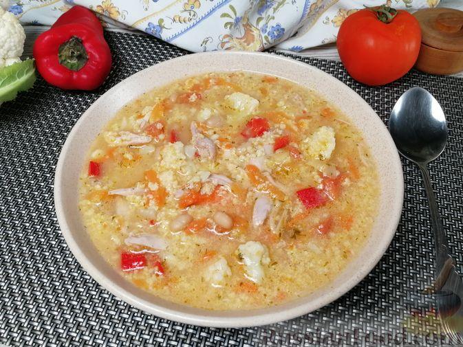 Фасолевый суп с пшеном и цветной капустой на курином бульоне