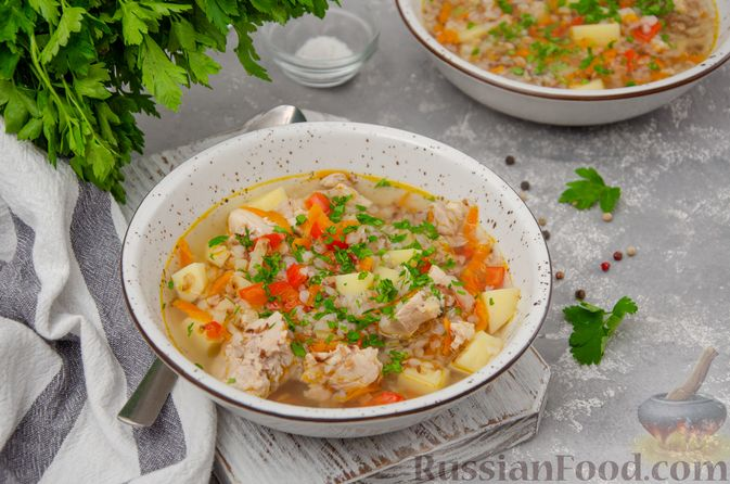 Куриный суп с гречневой крупой и овощами