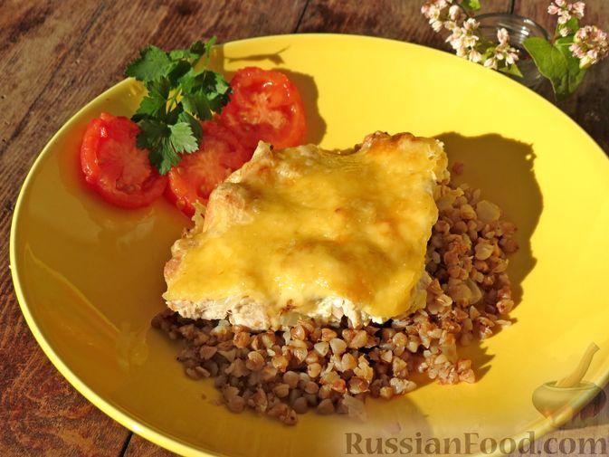 Гречка с куриным филе и сыром, в духовке