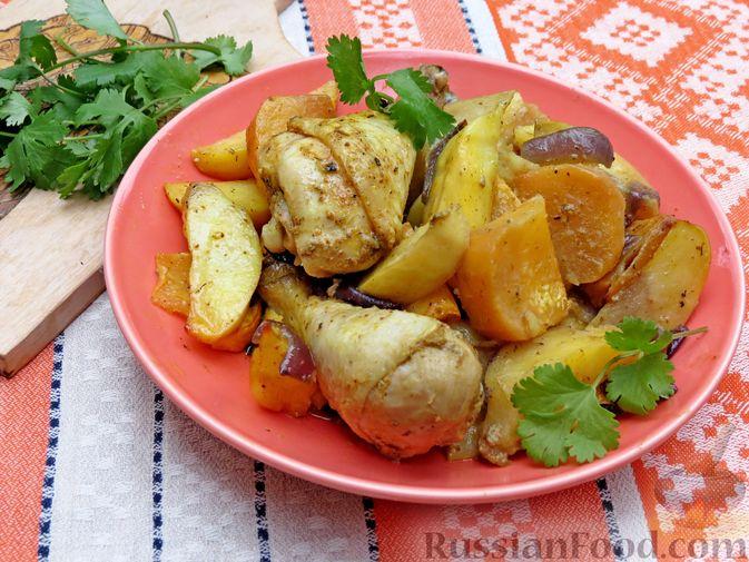 Картофель, запечённый с курицей и репой (в рукаве)