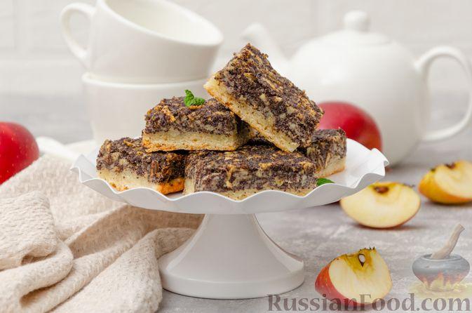 Открытый пирог из песочного творожного теста с яблочно-маковой начинкой