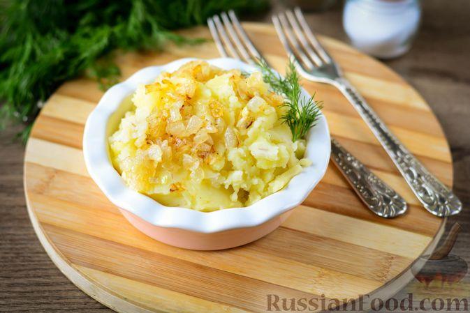 Пюре из перловой крупы и картофеля, с жареным луком