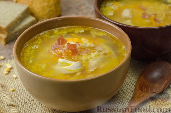 Гороховый суп с копчёной грудинкой и курицей