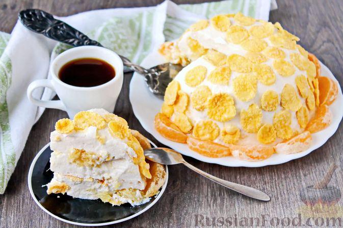 Творожно-сметанный десерт с апельсином и кукурузными хлопьями