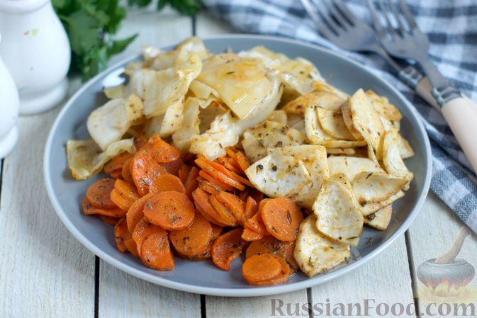 Капуста, морковь и сельдерей, запечённые с пряностями (в духовке)