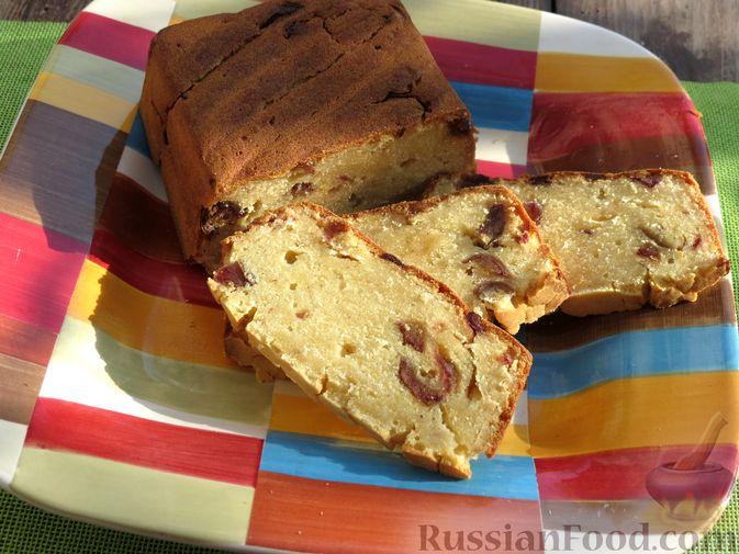 Кукурузный кекс на молоке, с финиками и апельсиновой цедрой (без сахара)