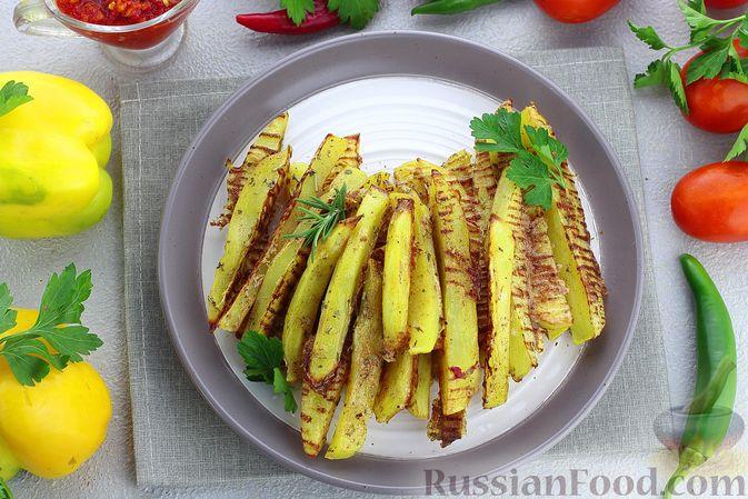Картошка «фри» с яичным белком, запечённая в духовке