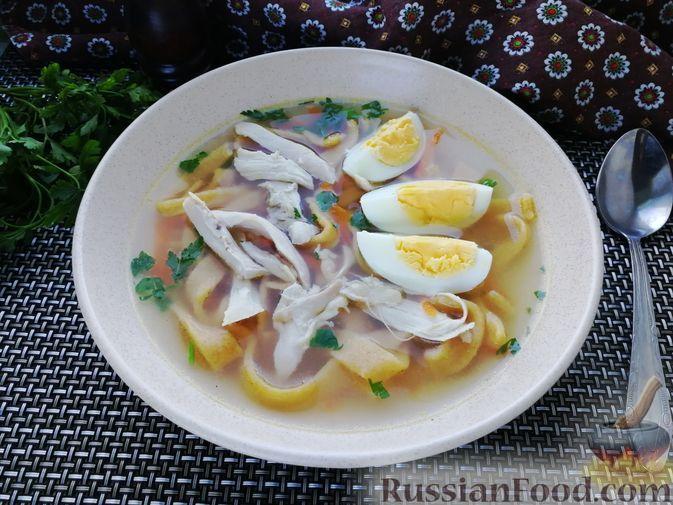 Суп с курицей и тыквенной лапшой