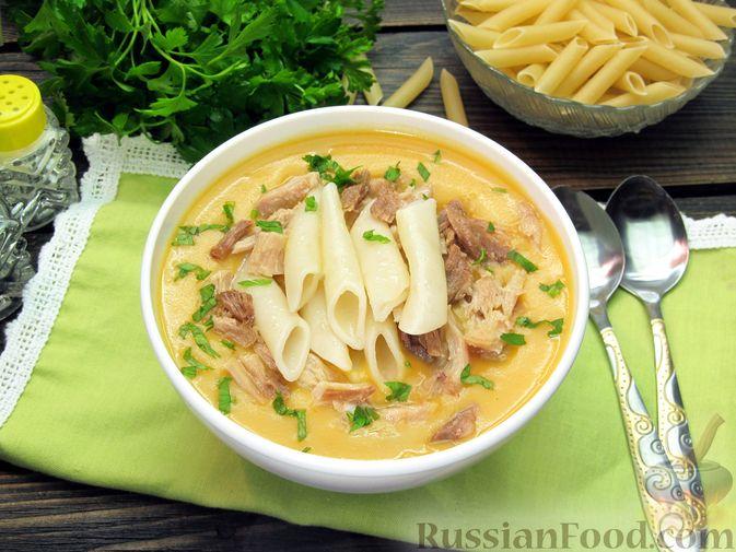 Картофельный крем-суп с курицей и макаронами