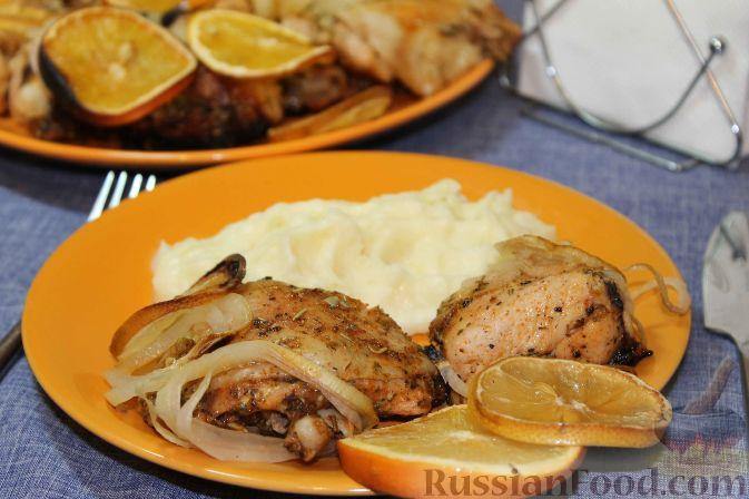 Курица, запеченная с травами и цитрусами