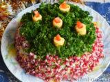 Слоеный салат «Новогодние свечи» с ветчиной