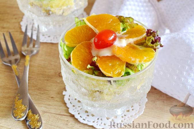 Салат с  курицей и фруктами