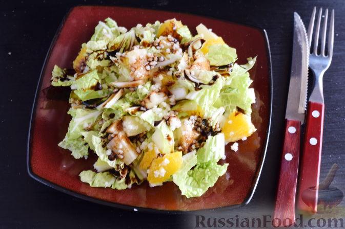 """Салат """"Золотое танго"""" с капустой, фруктами и пшеном"""