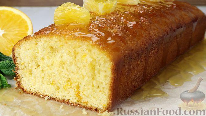 Апельсиновый кекс под сладким соусом