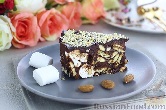 Шоколадный торт с маршмеллоу, печеньем и орехами (без выпечки)