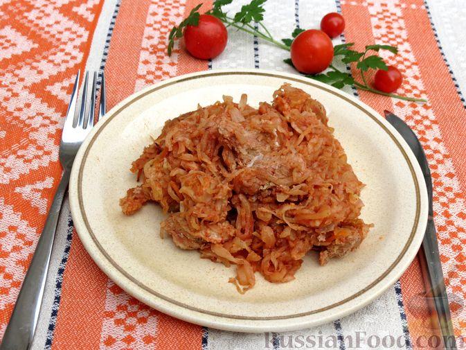 Квашеная капуста, запечённая с мясом (в рукаве)