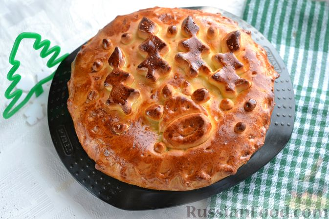 Дрожжевой пирог с печёночной начинкой