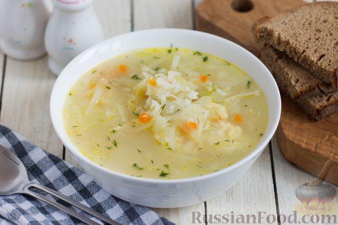 Рисовый суп с капустой и сыром