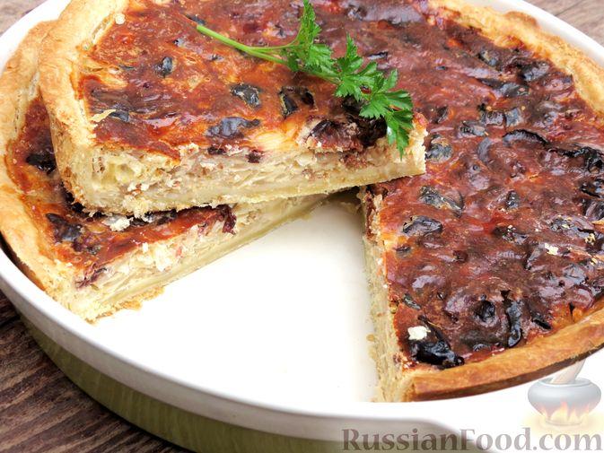 Киш с капустой и черносливом, в яично-сметанной заливке с сыром