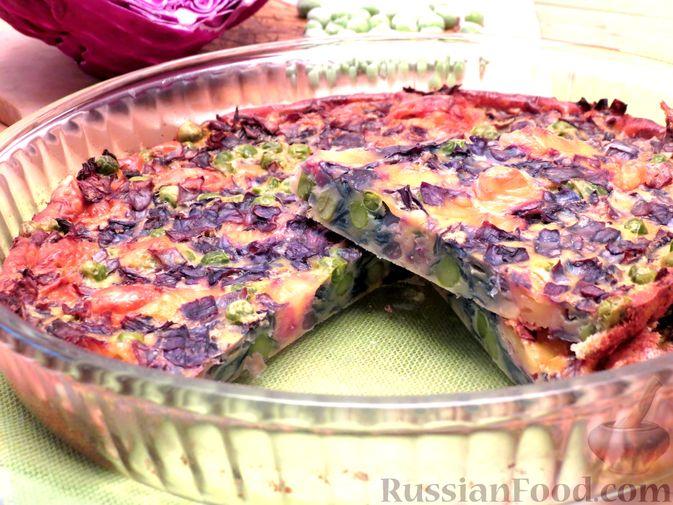 Запеканка из краснокочанной капусты с зелёным горошком и сыром
