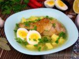 Куриный суп с картофелем и луково-мучной заправкой