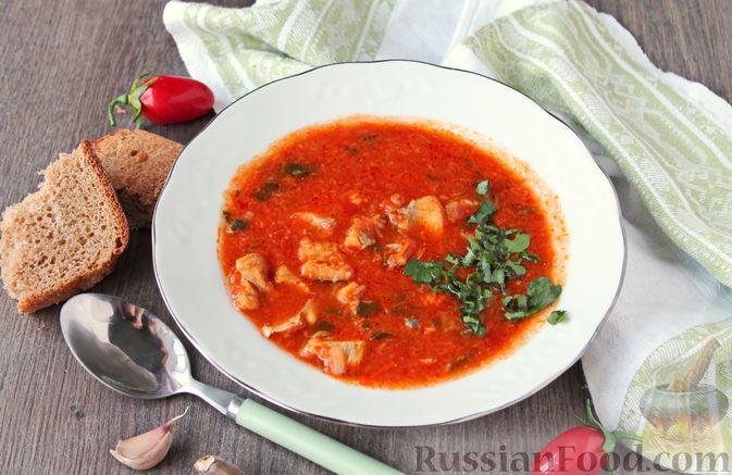 Рыбный суп с консервированными томатами