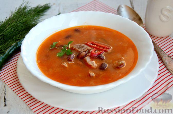 Острый томатный суп с говядиной и консервированной фасолью