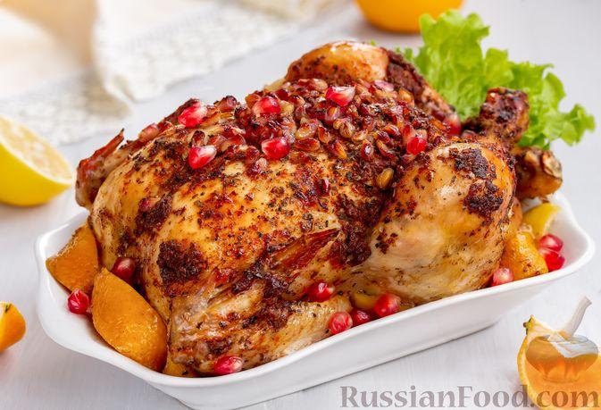 Курица, запечённая с гранатом, мандарином и лимоном (в рукаве)