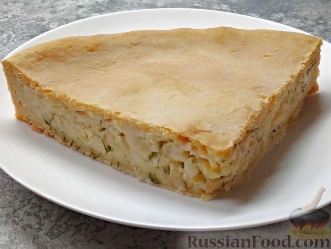 Луковый пирог с плавленым сыром, из песочного теста