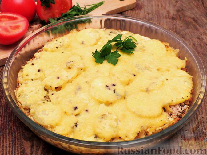 Картофельная запеканка с мясным фаршем, грибами и сыром