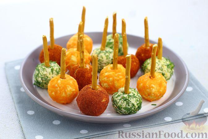 """Закуска """"Цветные шарики"""" из курицы с сыром и чесноком"""