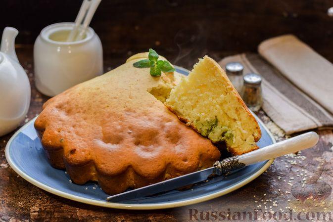 Бисквитный пирог с грибами и брокколи