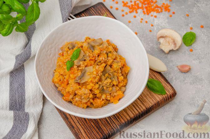 Чечевица с мясным фаршем и грибами (на сковороде)
