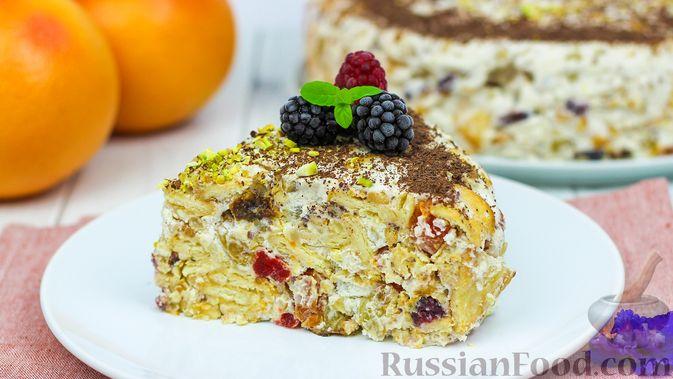 Торт с сухофруктами, орехами и печеньем (без выпечки)