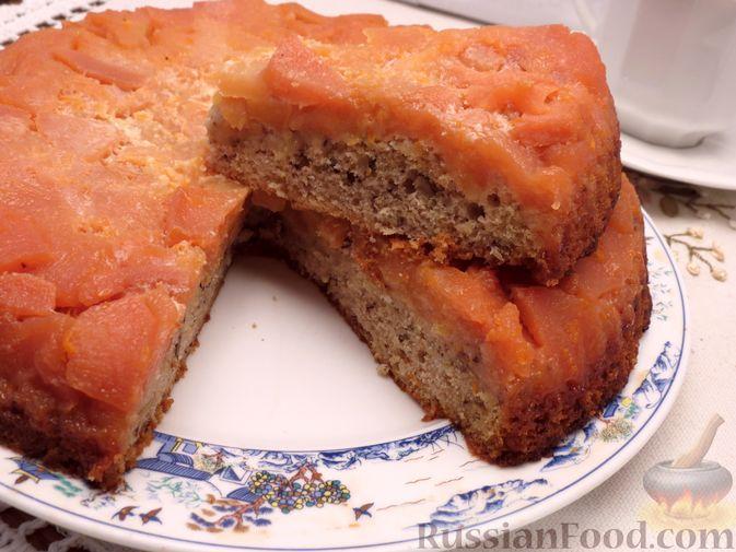 Ореховый пирог-перевёртыш с айвой