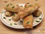 Пирожки-трубочки из вытяжного теста, с мясной и яично-рисовой начинками