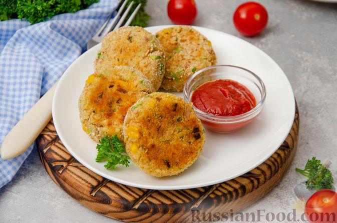 Картофельные котлеты с консервированным тунцом, кукурузой и цедрой